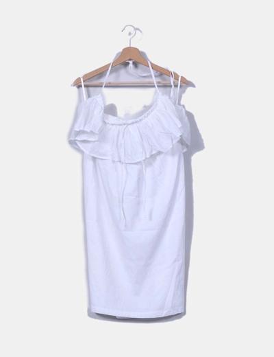 Vestido blanco con blonda Cortefiel