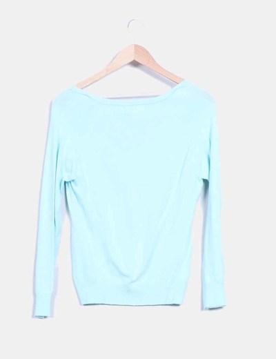 Cardigan tricot azul mint