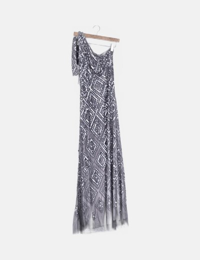 Vestido maxi gris con paillettes