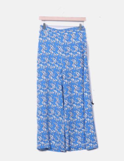 Pantalón fluido azul floral