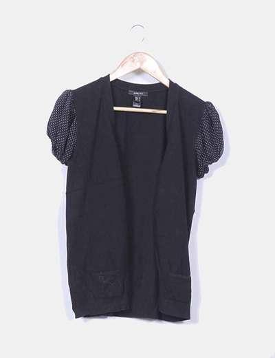 Chaqueta negra tricot mangas combinadas Mango