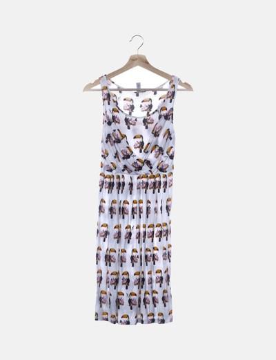 Vestido blanco print tucán