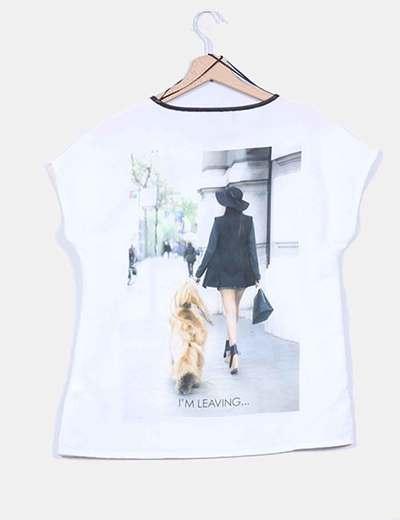 Blusa combinada print ribete polipiel