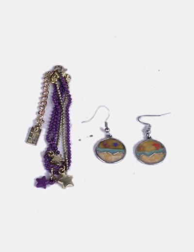 Conjunto de pendientes y pulseras multicolor NoName