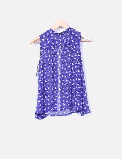 Camisa azul klein print golondrinas