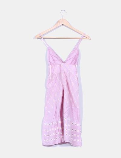 Vestido rosa estampado de tirante fino