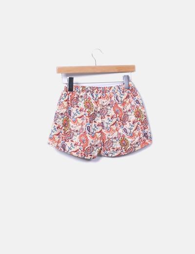 Shorts naranja floral acolchado