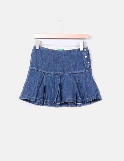 Benetton Mini falda vaquera de vuelo (descuento 94%) - Micolet 733f4c79ca27