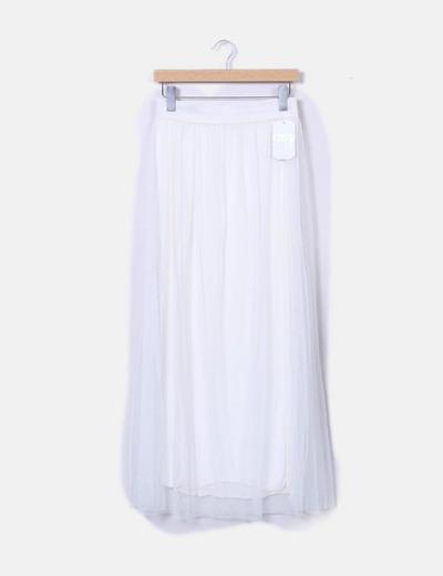 Falda midi blanca tul NoName