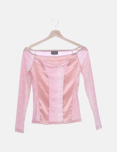 Camiseta rosa animal print