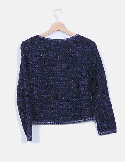 Chanelita fina tweed tonos azules