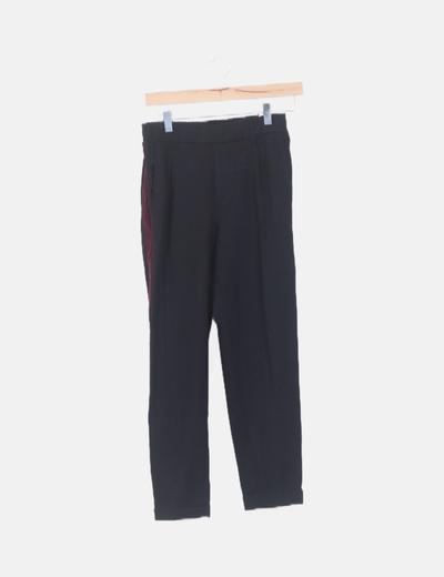 Pantalón chino negro franja lateral velvet