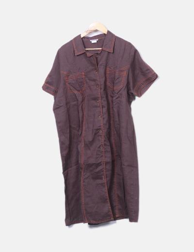 Vestido camisero marrón manga corta