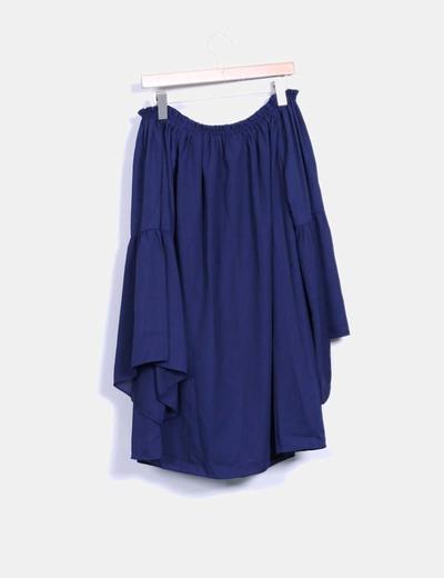 Vestido azul marino escote barco mangas campana