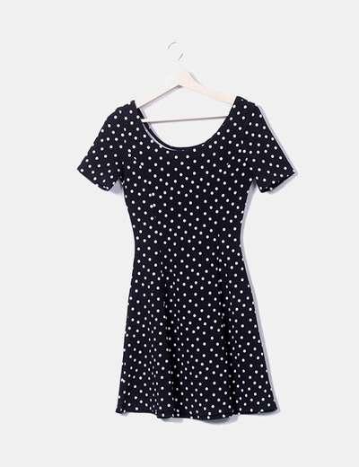 Vestido de bolinhas pretas H&M