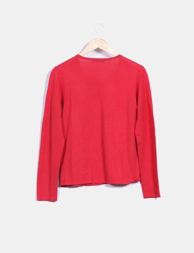 Chaqueta tricot rojo con bolsillos