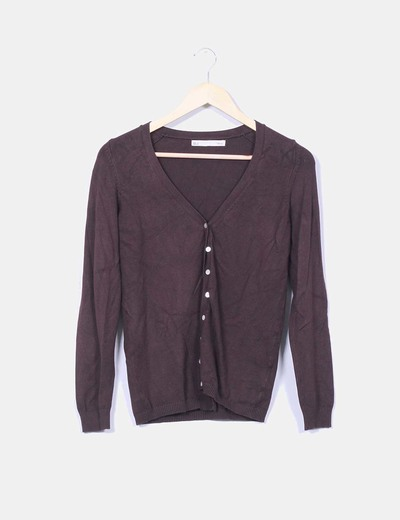 Chaqueta tricot marron chocolate