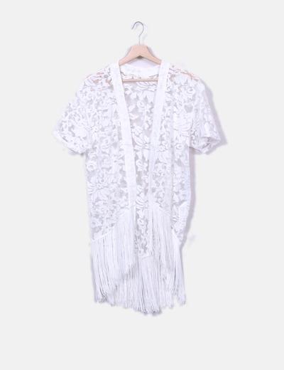 Kimono blanc imprimé avec paillettes Bershka