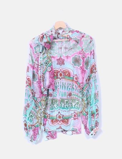 Custo Barcelona Blusa seda customizada (descuento 65%) - Micolet 85766df374670