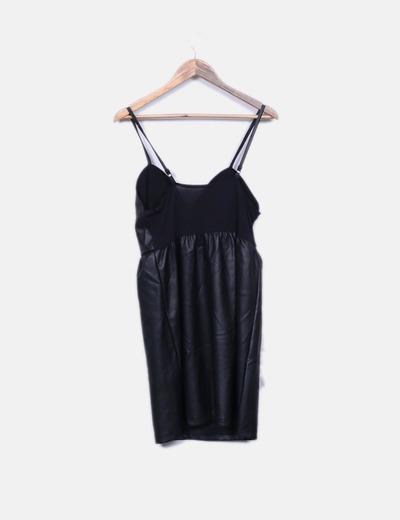 00ebedfad6 NoName Vestido polipiel negro tirantes (descuento 58%) - Micolet