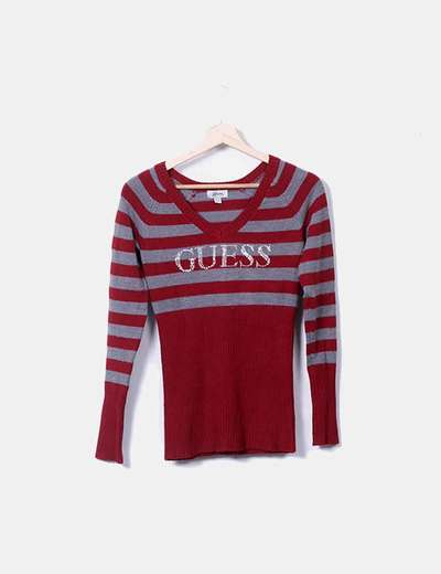 Pull rouge rayé pico logo avec strass Guess