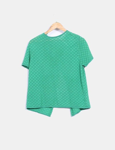 Chaqueta tricot verde texturizado