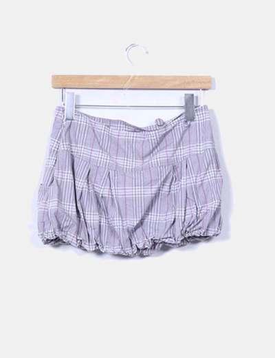 Mini falda abullonada cuadros grises