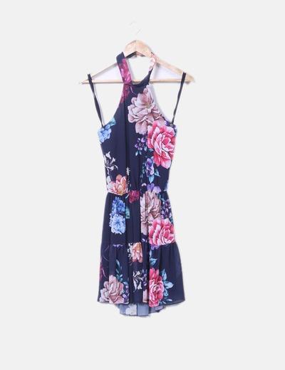 Vestido floral cuello halter