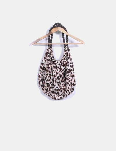 Bolso shoulder con estampado de leopardo