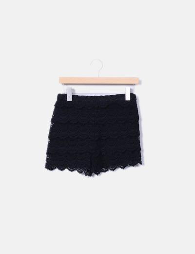 Short en crochet negro Zara