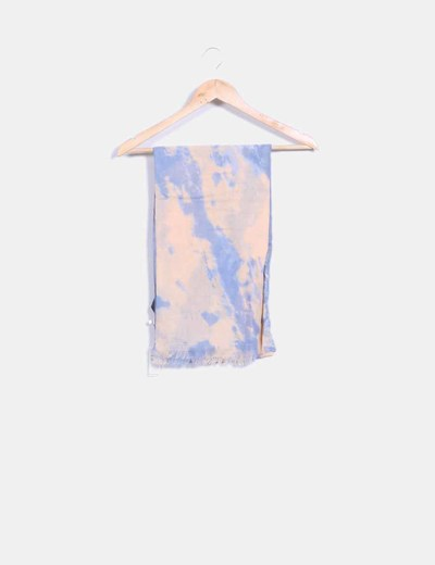 Foulard efecto desteñido azul y beige Pieces
