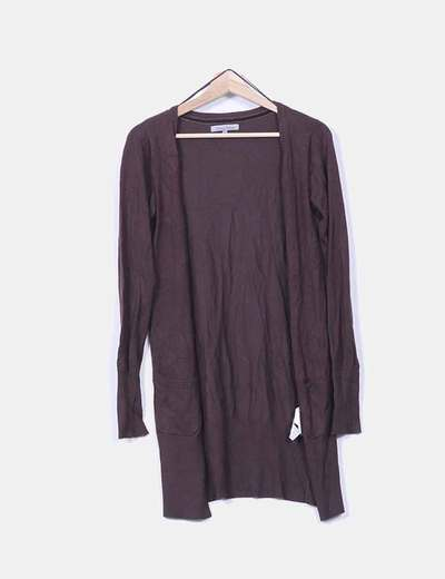 Cárdigan tricot marrón oscuro Bershka