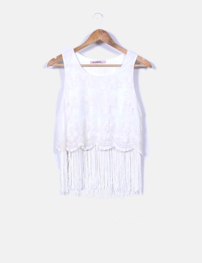 Top encaje blanco con flecos may & Co