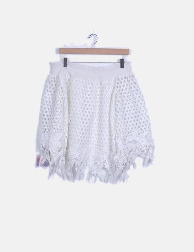 Top crochet blanco escote barco