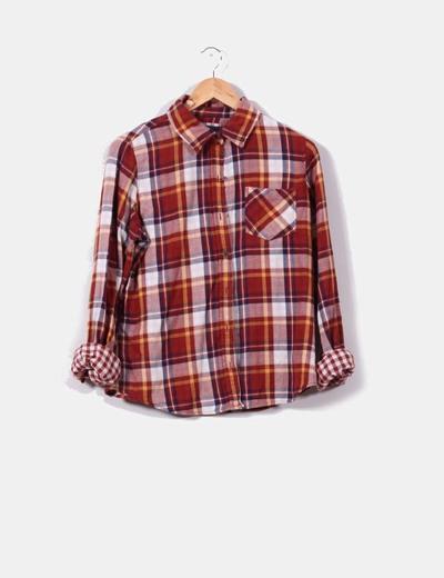 Camisa de cuadros tonos teja  I Love H81