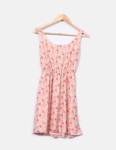 Vestido salmón print floral Pull & Bear