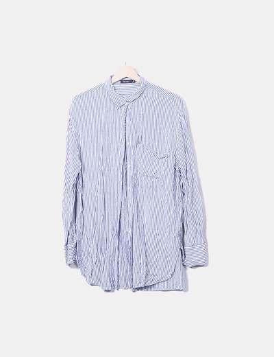 ee171c83f Bershka Camisa blanca raya azul (descuento 78%) - Micolet