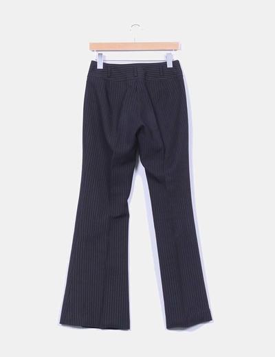 Pantalon negro de pinzas con raya diplomatica