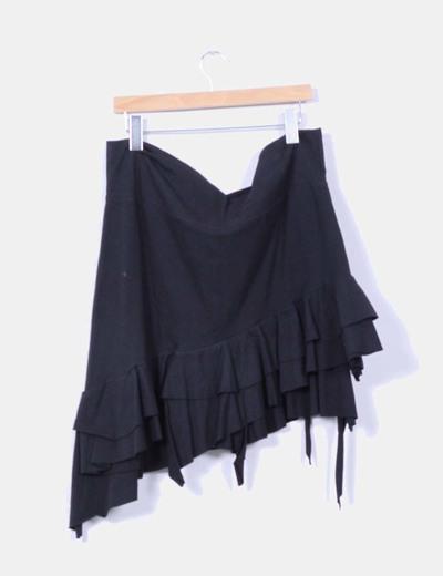 Falda negra asimetrica con volantes