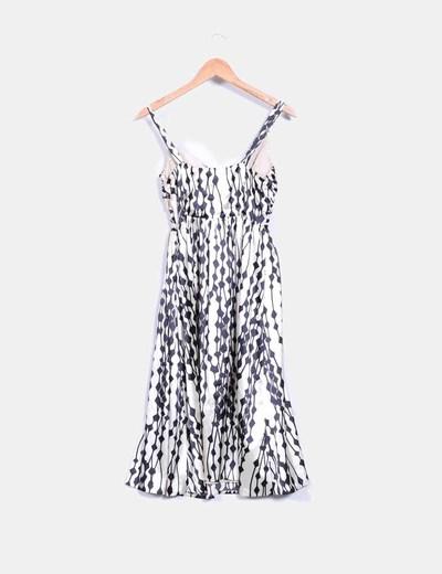 Vestido bicolor tacto seda