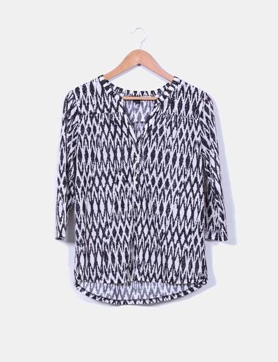 Camisa estampada blanco y negro H&M