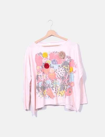 Jersey punto rosa multicolor