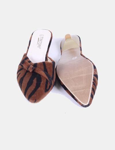 Zapato destalonado de pelo animal print