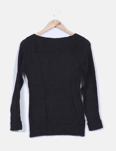 Jersey mohair negro escote redondo