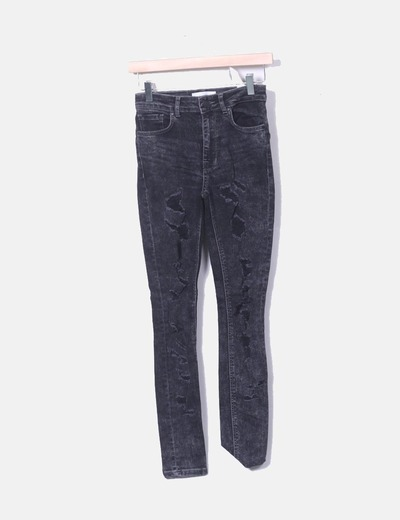 Jeans ripped noir slim en denim Mango
