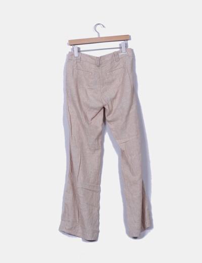 Pantalon beige de lino