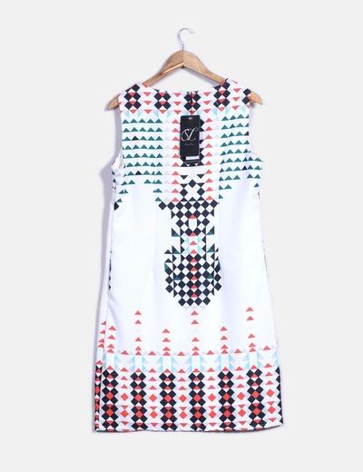 Vestido midi blanco con estampado multicolor