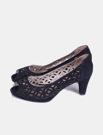 Zapatos peep toe negros troquelados Argenta