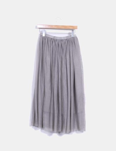 Falda midi de tul gris