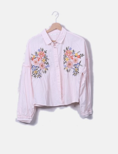 Camisa rosa bordado floral